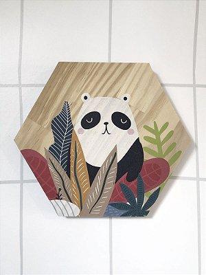 PLAQUINHA DE MADEIRA SELVA PANDA