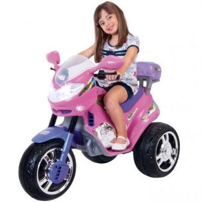 Moto Elétrica Infantil Fada Rosa C/ Som e Luz - Magic Toys