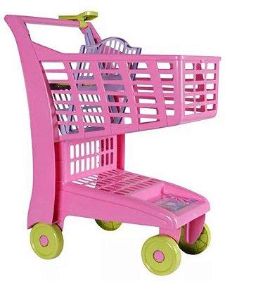 Carrinho de Compras supermercado Infantil Rosa - Magic Toys