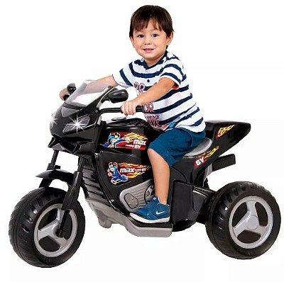 Moto Elétrica Infantil Max Turbo 6V Preta - Magic Toys