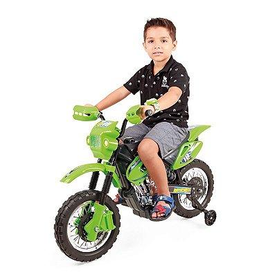 Moto Elétrica Infantil Motocross Verde - Homeplay