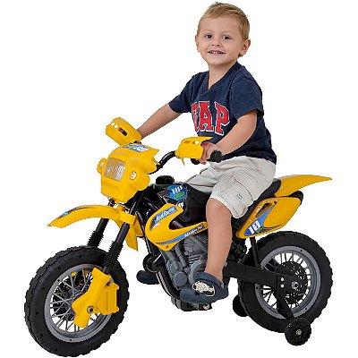 Moto Elétrica Infantil Motocross Laranja - Homeplay