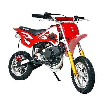 MINI MOTO DIRT CROSS 49CC VERMELHA - IMPORTWAY