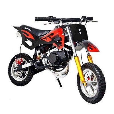 MINI MOTO DIRT CROSS 49CC PRETA - IMPORTWAY