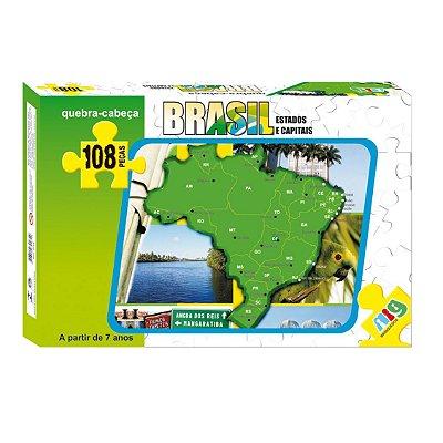 QUEBRA CABEÇA MAPA DO BRASIL 108 PEÇAS - NIG BRINQUEDOS