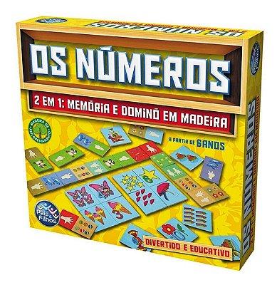 JOGO OS NÚMEROS MEMÓRIA E DOMINÓ EM MADEIRA - PAIS E FILHOS