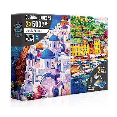 QUEBRA-CABEÇAS LITORAIS EUROPEUS 2X500 PEÇAS - TOYSTER