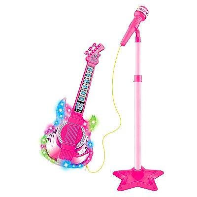GUITARRA E MICROFONE COM PEDESTAL ROCK SHOW ROSA - DM TOYS