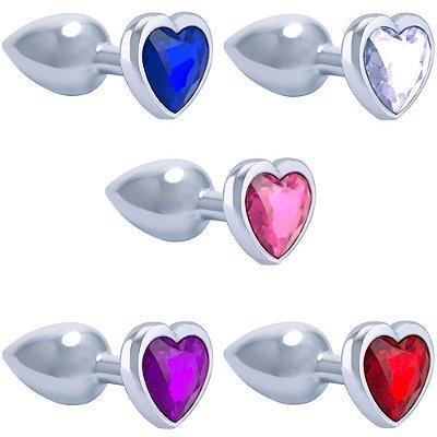 Plug Anal Metal Cromado Coração