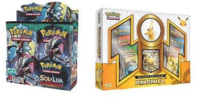 Pokémon - 1 Booster Box Sol e Lua 2 + 1 Box Gerações Pikachu Ex c/ Miniatura