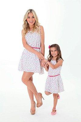 Vestido Rosas Tal Mãe Tal Filha
