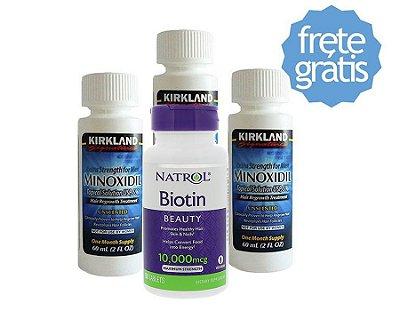 Combo Crescimento Acelerado - Biotina Natrol + Minoxidil Kirkland - Tratamento Para 3 Meses