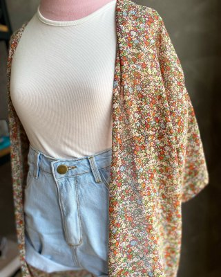 Kimono florido seda LUIZA