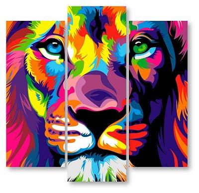 Leão colorido - 3 Telas Canvas