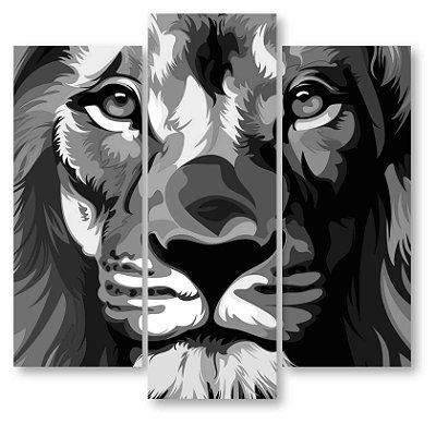 Leão p&B - 3 Telas Canvas