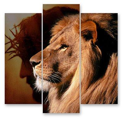 Jesus/leão - 3 Telas Canvas