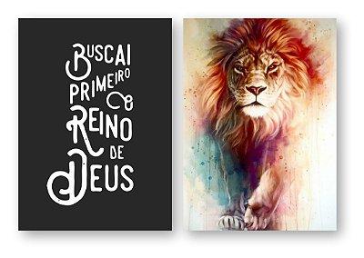 Buscai Primeiro o Reino + Leão de Judá Aquarela KIT 2 PÇS REF3003