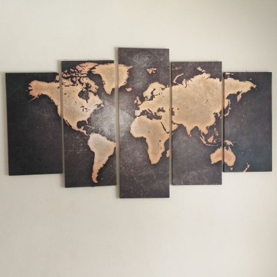 Mapa Mundi - Quadro Mosaico 5 Telas em Canvas