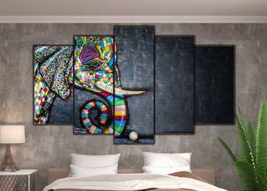 Arte contemporânea - Quadro Mosaico 5 telas em Canvas
