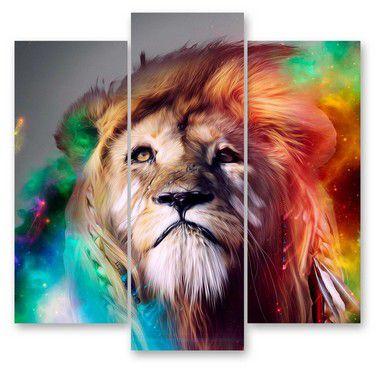Leão Color - 3 telas Canvas