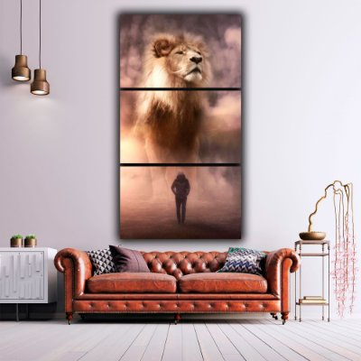 Lion and Man - 3 Canvas