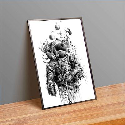 Astronauta preto e branco - Emoldurado