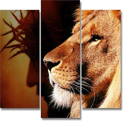 Jesus e Leão antigo - 3 telas Canvas