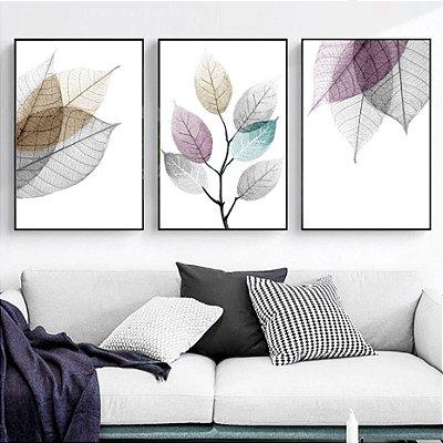 Floral Cores  - 3 Quadros emoldurados