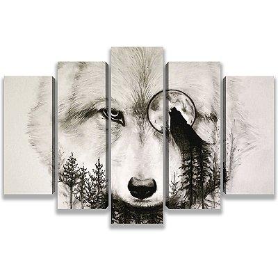 Lobo Branco ao luar - Quadro Mosaico 5 Telas em Canvas