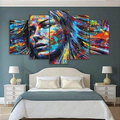 Art Mulher Cores - Quadro Mosaico 5 telas em Canvas