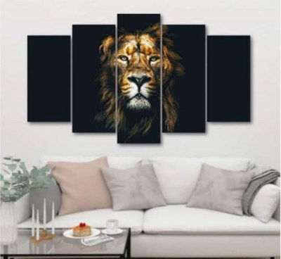 Black Lion - 5 Telas Canvas