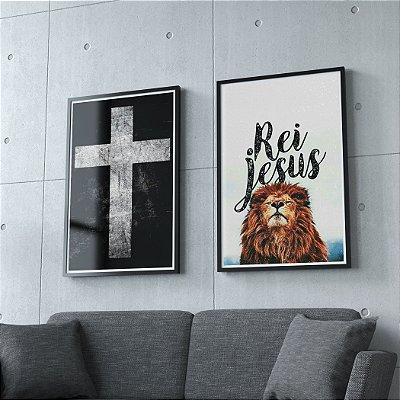 Cruz + Rei Jesus  - KIT 2 QUADROS