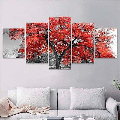 Arvore Vermelha - Quadro Mosaico 5 telas em Canvas