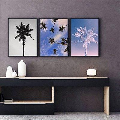 Arvore Palmeira - 3 Quadros emoldurados