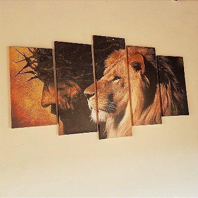 Mosaico Jesus e Leão Novo - 5 Telas Canvas