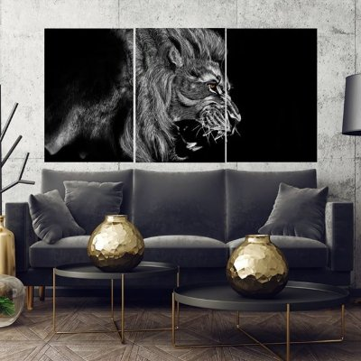 Lion Black  - 3 telas Canvas
