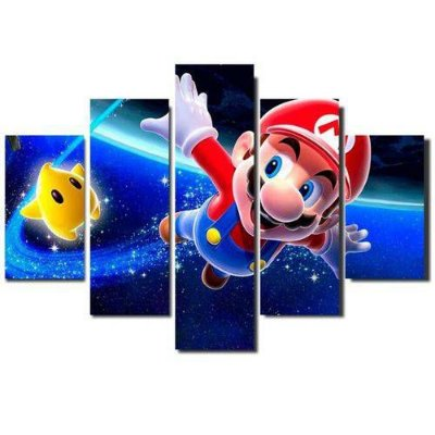 Super Mario - Quadro Mosaico 5 telas em Canvas