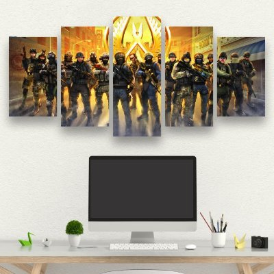 COUNTER STRIKE GLOBAL OFFENSIVE - CSGO - 5 Telas Canvas