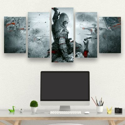 ASSASSINS CREED - Quadro Mosaico 5 telas em Canvas