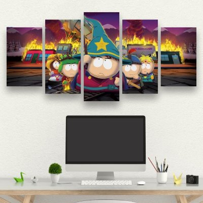 south park the stick of truth  - Quadro Mosaico 5 telas em Canvas