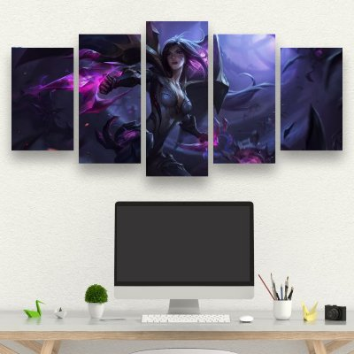 LEAGUE OF LEGENDS- Quadro Mosaico 5 Telas em Canvas