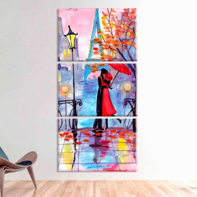 Casal Amor na Cidade - 3 telas canvas
