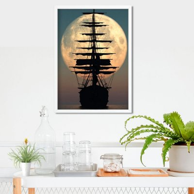 Barco ao luar - Emoldurado