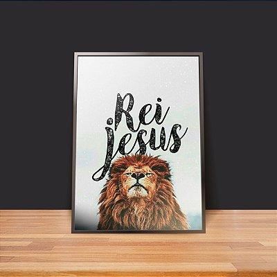 Rei Jesus leão fundo branco - Emoldurado