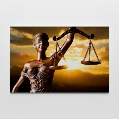QUADRO ESCRITÓRIO ADVOCACIA DIREITO DEUSA DA JUSTIÇA PÔR DO SOL