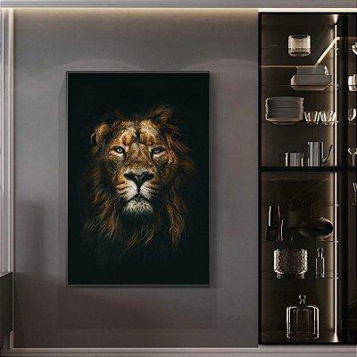 Quadro Leão Savana - Frete grátis