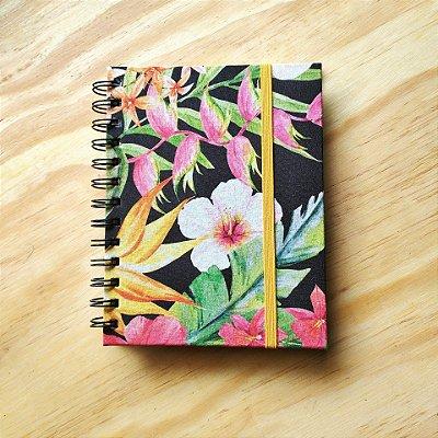 Caderno Artesanal Capa de tecido - Estampa Floral fundo preto