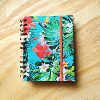 Caderno Artesanal Capa de tecido - Estampa Floral fundo tiffany