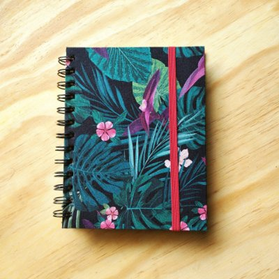 Caderno Artesanal Capa de tecido - Estampa Floresta Verde