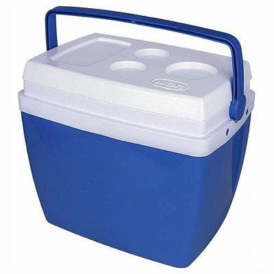 Caixa Térmica 26 Litros Com Alça E Porta Copos Na Tampa Azul – Mor